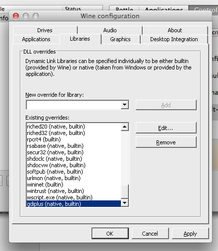 Wine libraries dialog on Mac